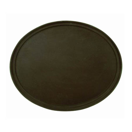 "Thunder Group Black Oval Non-Skid Serving Tray 22"" x 27"""