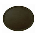 Thunder Group Black Oval Non-Skid Serving Tray 22\x22 x 27\x22