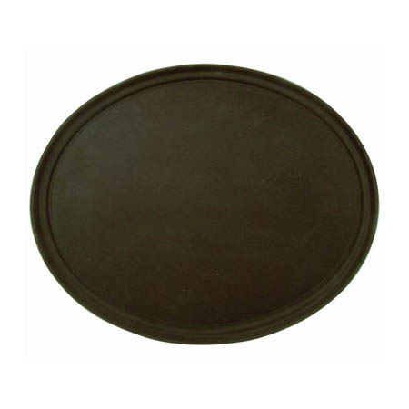 "Thunder Group Brown Oval Non-Skid Serving Tray 22"" x 27"""