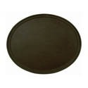 Thunder Group Brown Oval Non-Skid Serving Tray 22\x22 x 27\x22