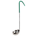 Thunder Group 4 oz. 1-Piece Stainless Steel Ladle with Green Handle