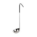 Thunder Group 6 oz. 1-Piece Stainless Steel Ladle with Black Handle
