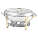 Bradford Hall 6-Quart Oval Stainless Steel Chafer with Gold Plated Accents