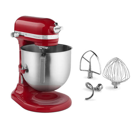 "KitchenAid Refurbished 8-Quart Red Variable Speed Commercial Stand Mixer with Accessories 13-1/3""W"