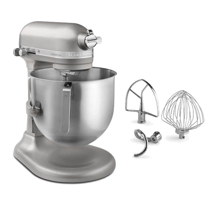 Ki8904r Kitchenaid Refurbished 8 Quart Nickel Pearl Variable Sd 1 3 Hp Commercial Stand Mixer With Accessories
