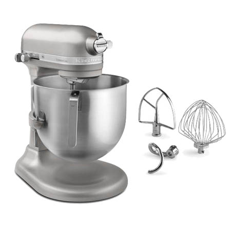 "KitchenAid Refurbished 8-Quart Nickel Pearl Variable Speed 1.3 HP Commercial Stand Mixer with Accessories 13-1/3""W"