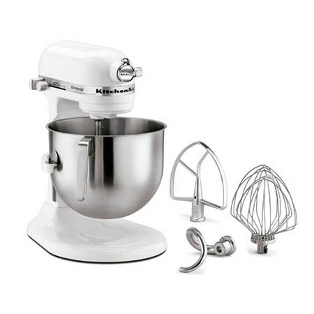 "KitchenAid Refurbished 8-Quart White Variable Speed Commercial Stand Mixer with Accessories 13-1/3""W"