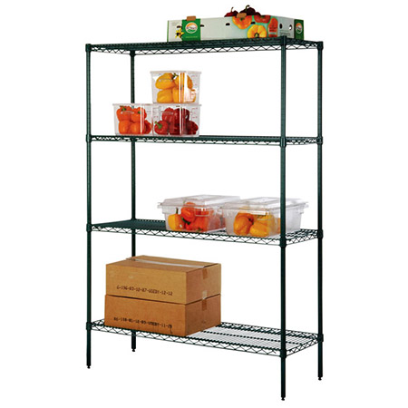 "FSEQ Heavy Duty Green Epoxy-Coated Wire Shelving Kit 18"" x 72"""