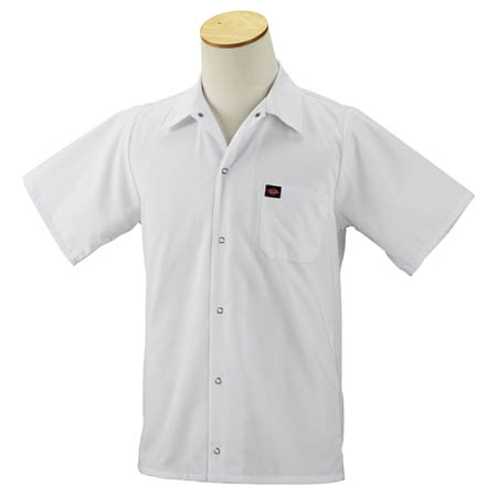 Kitchen Wears™ Small Snap  White Short Sleeve Shirt