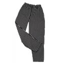Kitchen Wears™ Large Black with White Pinstripe Baggy Chef Pants