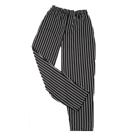 Kitchen Wears™ 2X-Large Black with White Pinstripe Baggy Chef Pants