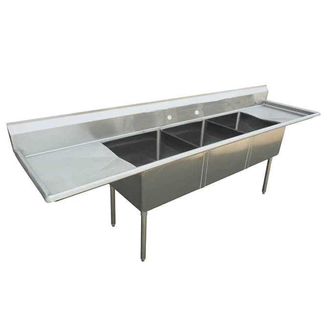 Sauber 3 Compartment Stainless Steel Sink With Two 18 Drainboards 84l