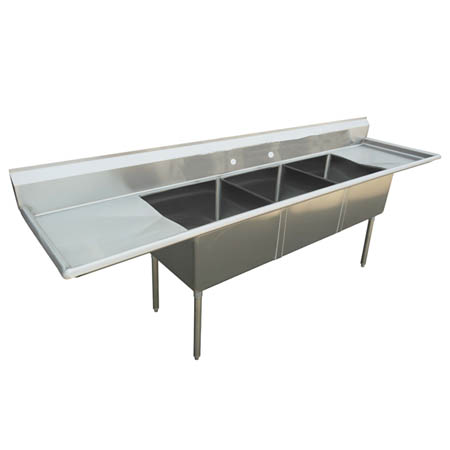"Sauber 3-Compartment Stainless Steel Sink with Two 18"" Drainboards 84""W"