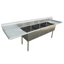 Sauber 3-Compartment Stainless Steel Sink with Two 18\x22 Drainboards 84\x22W