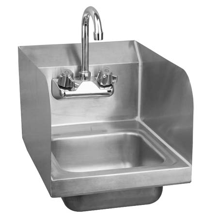 "Sauber Stainless Steel Wall Mount Hand Sink with Faucet and Splash Guards 17""W"