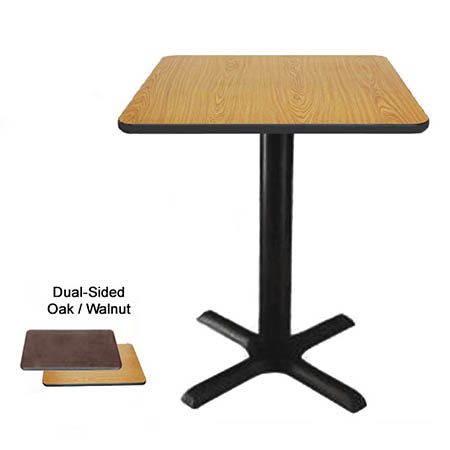 "24"" Square Oak/Walnut Dining-Height Table Kit 29-1/4""H"