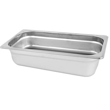 "1/4-Size Anti-Jam Standard Weight Stainless Steel Food Pan 4"" Deep"