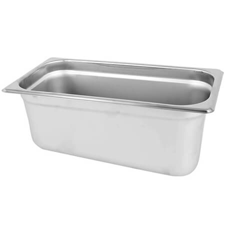"1/4-Size Anti-Jam Standard Weight Stainless Steel Food Pan 6"" Deep"