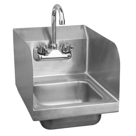 "Sauber Stainless Steel Wall Mount Space Saver Hand Sink with Faucet and Splash Guards 12""W"
