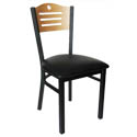 Black Metal Frame Bistro Chair with Natural Wood Back and Black Vinyl Seat