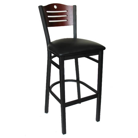 Black Metal Frame Bistro Bar Stool with Mahogany Wood Back and Black Vinyl Seat