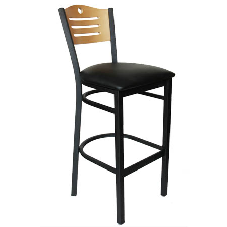 Black Metal Frame Bistro Bar Stool with Natural Wood Back and Black Vinyl Seat