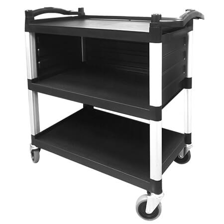3-Shelf 220 lb. Capacity Utility Bus Cart With Single Shelf Enclosed