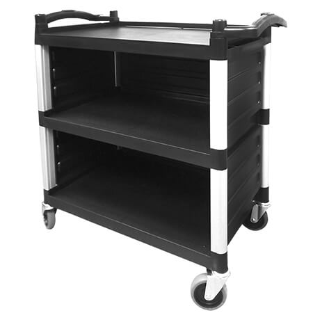 3-Shelf 220 lb. Capacity Utility Bus Cart With Three Sides Enclosed