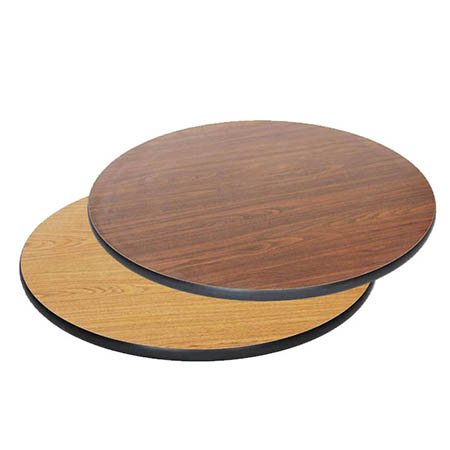 "24"" Round Oak/Walnut Dual-Sided Table Top"