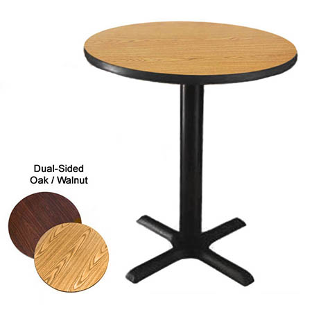 "30"" Round Oak/Walnut Dining-Height Dual-Sided Table Kit 29-1/4""H"