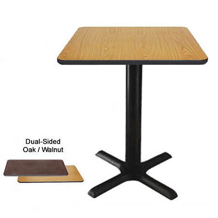"24"" x 30"" Oak/Walnut Dining-Height Dual-Sided Table Kit 29-1/4""H"