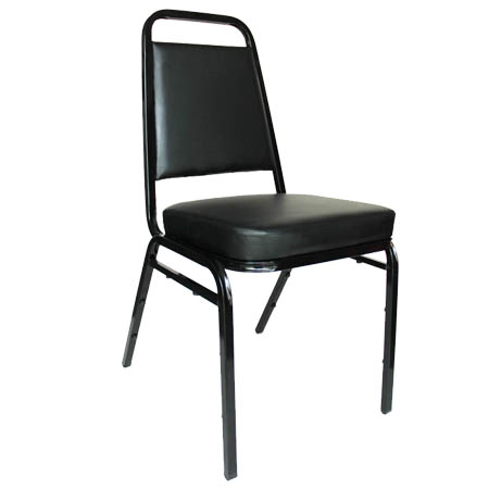 "Black Metal Square Back Stack Chair with 2"" Black Vinyl Seat"
