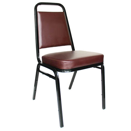 "Black Metal Square Back Stack Chair with 2"" Burgundy Vinyl Seat"