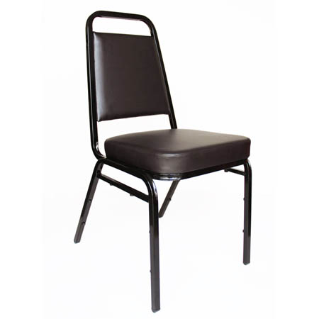 "Black Metal Square Back Stack Chair with 2"" Brown Vinyl Seat"