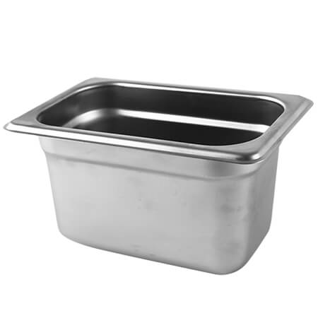 "1/9-Size Anti-Jam Heavy Duty Stainless Steel Food Pan 4"" Deep"