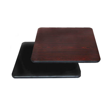 "24"" Square Black/Mahogany Dual-Sided Table Top"