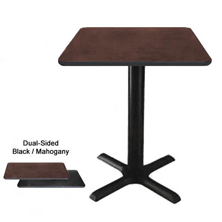"24"" Square Black/Mahogany Dining-Height Dual-Sided Table Kit 29-1/4""H"