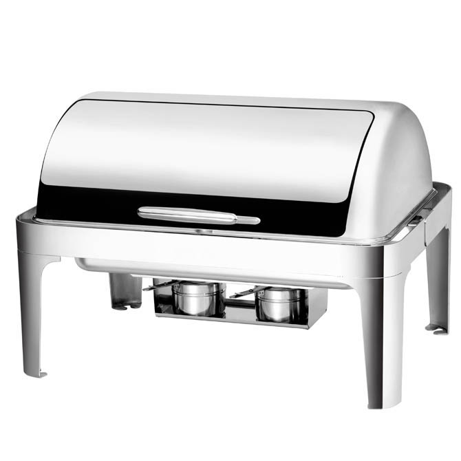 Bradford Hall 8 Quart Full Size Stainless Steel Chafer With Roll Top Lid