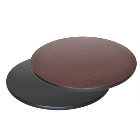 "24"" Round Black/Mahogany Dual-Sided Table Top"
