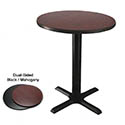 "24"" Round Black/Mahogany Dining-Height Dual-Sided Table Kit 29-1/4""H"