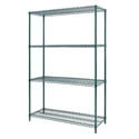 Sureshelf Green Epoxy-Coated Wire Shelving Kit 14\x22 x 48\x22