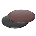 "30"" Round Black/Mahogany Dual-Sided Table Top"