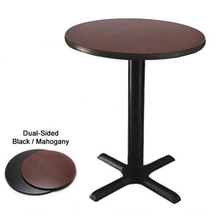 "30"" Round Black/Mahogany Dining-Height Dual-Sided Table Kit 29-1/4""H"