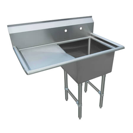"Sauber Select 1-Compartment Stainless Steel Sink with 18"" Drainboard on Left 38-1/2""W"