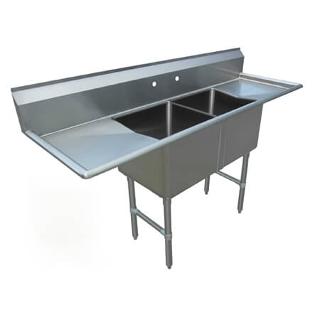 "Sauber Select 2-Compartment Stainless Steel Sink with Two 18"" Drainboards 70""W"