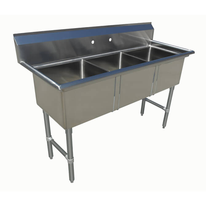 Sauber Select Three Compartment Sink 12 Deep With No Drainboard