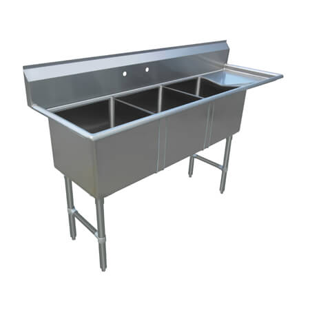"Sauber Select 3-Compartment Stainless Steel Sink with 18"" Right Drainboard 71-1/2""W"