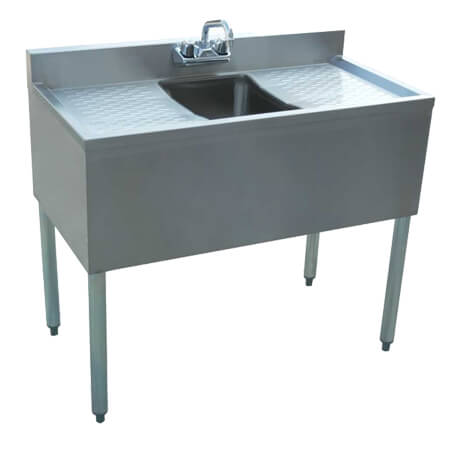 "Sauber 1-Compartment Stainless Steel Bar Sink with Two 13"" Drainboards 36""W"