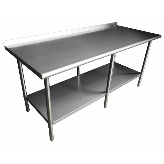 Sauber Stainless Steel Work Table With Backsplash W X D X H - Stainless steel work table with backsplash