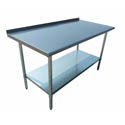 "Sauber Stainless Steel Work Table with 2"" Backsplash 60""W x 30""D x 36""H"